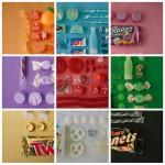 Süßwaren nach Farben sortiert
